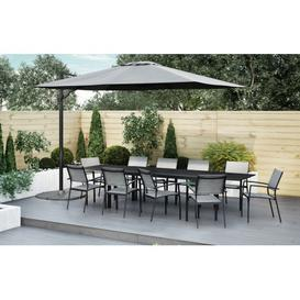 image-Havana - 10 Seater Extendable Dining Set and 3x4m Parasol