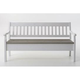 image-Boston Wood Storage Bench August Grove Colour: Stained and varnished white/Grey