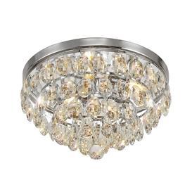 image-Visconte Maine 3 Light Crystal Flush Ceiling Light - Chrome