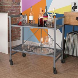 image-Cosco Outdoor Living Intellifit Outdoor/Indoor Grey Folding Serving Cart with 2 Slatted Shelves