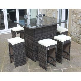 image-Rattan Outdoor 6 Seat High Table and Stool Bar