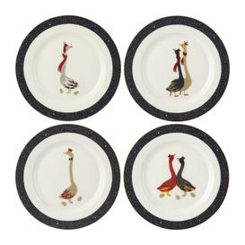 image-Sara Miller - Christmas Geese Cake Plates - Set of 4