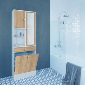 image-62.6 x 181.1cm Free Standing Tall Bathroom Cabinet Mercury Row Colour: White/Oak