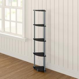 image-5 Tier Corner Bookcase Wayfair BasicsΓäó Colour: Black / Grey