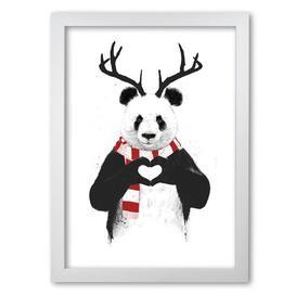 image-'Christmas Panda' by Mercedes Lopes Charro - Graphic Art Print on Paper East Urban Home Frame Options: White Grain, Size: 59.4 cm H x 42 cm W x 5 cm D