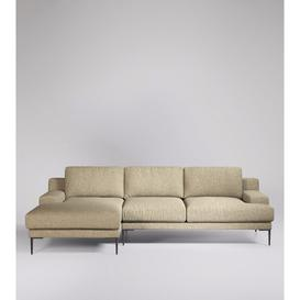 image-Swoon Almera Left Corner Sofa in Oatmeal Soft Wool With Black Feet