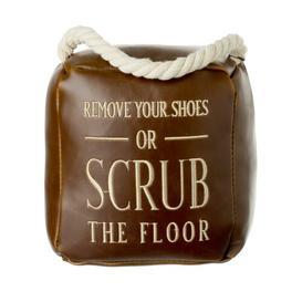 image-Klara Remove Your Shoes Fabric Door Stop Happy Larry