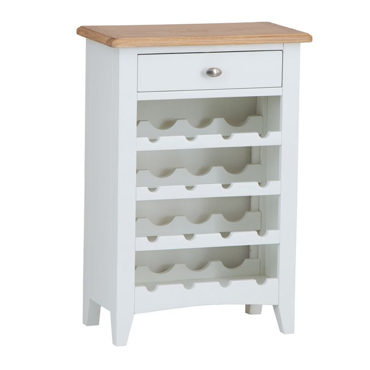 image-Galaxy White Painted Furniture Wine Cabinet with Drawer