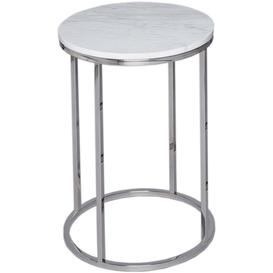 image-Westminster White Marble Round Side Table with Stainless Steel Base