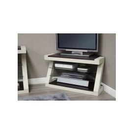 image-Z Painted Corner TV Unit with Wenge Oak Top