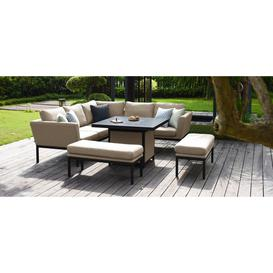 image-Maze Lounge Outdoor Pulse Taupe Fabric Square Corner Dining Set with Rising Table