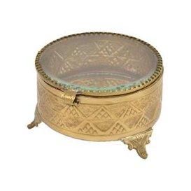 image-Libra Amelia Antique Brass Round Jewellery Box