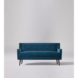 image-Swoon Perrian Three-Seater Sofa in Petrolblue Easy Velvet With Dark Feet