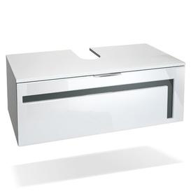 image-Aloha 96cm Wall Mounted Vanity Unit Vladon Vanity unit colour: White/Grey, With mirror: No, Orientation: With sink, without tap
