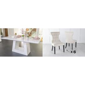 image-Urban Deco Milan 180cm White Marble Dining Table and 6 Courtney Champagne Chairs
