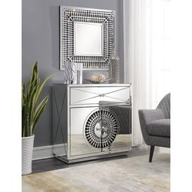 image-Eloy Mirrored 2 Door 1 Drawer Small Sideboard with Square Mirror