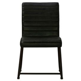 image-Brooks Genuine Leather Dining Side Chair - Black