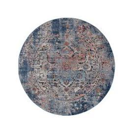 image-Soraya Traditional Circle Rug Blue, Orange and White