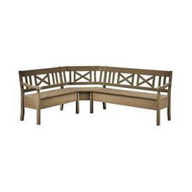 image-Pols Wood Bench August Grove Colour: Wine-coloured/Wine-coloured, Size: 93cm H x 213cm W x 170cm D, Armrest: With armrest