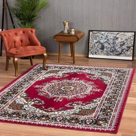 image-Red Traditional Medallion Living Room Rug - Milan