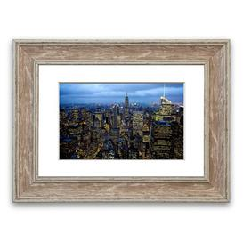image-'City Night Lights' Framed Photograph East Urban Home Size: 93 cm H x 126 cm W, Frame Options: Walnut