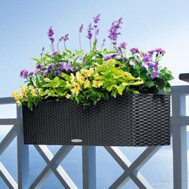 image-Balconera Self-Watering Balcony Planter Lechuza Colour: Granite, Size: 19 cm H x 79 cm W x 19 cm D