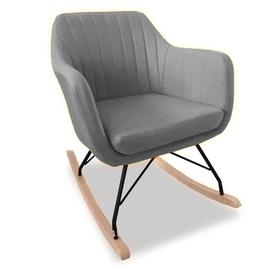 image-Katell Fabric Rocking Chair In Light Grey With Wooden Base