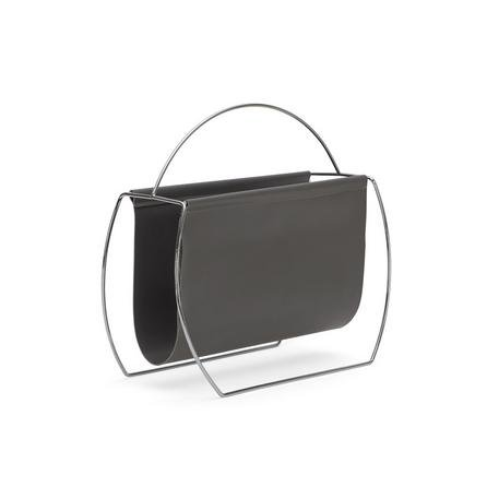 image-Faux Leather Grey Magazine Rack Grey