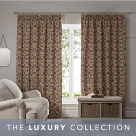 image-Chatsworth Autumnal Pencil Pleat Curtains White and Brown