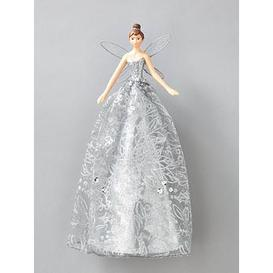 image-Gisela Graham Silver Fairy Christmas Tree Topper