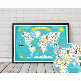 image-'Children's World Map' Framed Graphic Art Print