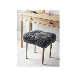 image-Sheepskin Dressing Table Stool - Slate Grey