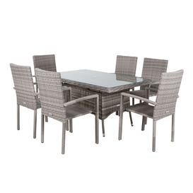 image-6 Seat Rattan Garden Dining Set With Small Rectangular Table in Grey - Rio