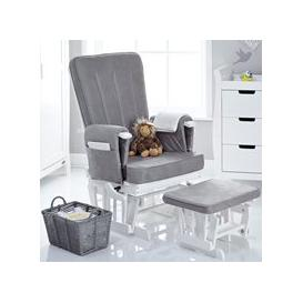 image-Obaby Deluxe Reclining Nursing Chair and Stool - Sand