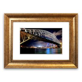 image-'Sydney Harbour Bridge Night Lights' Framed Photograph East Urban Home Size: 50 cm H x 70 cm W, Frame Options: Gold