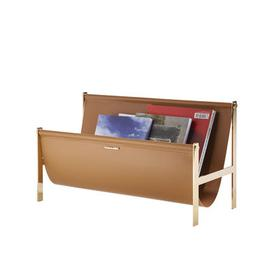 image-Magazine holder - / Leather & Metal - L 58 cm by Opinion Ciatti Gold,Natural