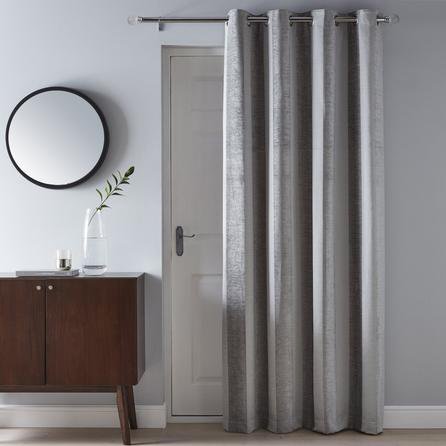 image-Parker Grey Chenille Eyelet Door Curtain Grey
