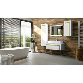 image-Aloha 3-Piece Bathroom Furniture Set Vladon Body and front colour: White/Lime, With mirror: No, Orientation: Without sink and fittings