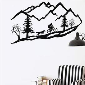 image-Metal Mountain Bike Trees and Dog Wall Décor Union Rustic Size: 50cm H x 90cm W x 1cm D