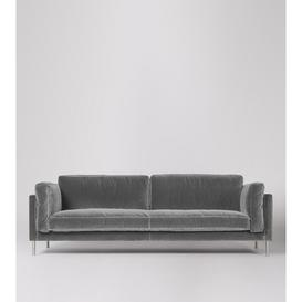 image-Swoon Munich Three-Seater Sofa in Silver Grey Easy Velvet