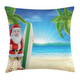 image-Obell Christmas Santa with Surfboard Outdoor Cushion Cover Ebern Designs Size: 50cm H x 50cm W