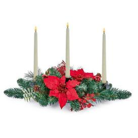 image-Indoor Red Poinsettia Christmas Candle Holder