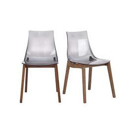 image-Calligaris - Mikado Pair of Smoke Grey Acrylic Dining Chairs - Grey