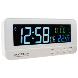 image-Acctim Radio Controlled LCD Digital Alarm Clock, White