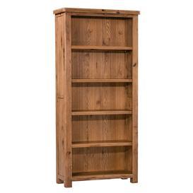 image-Aztec Solid Oak Furniture Large Rustic 5 Shelf Bookcase