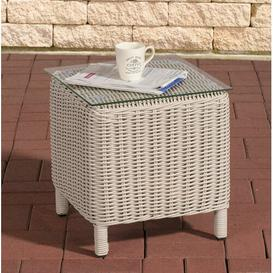 image-Redmayne Aluminium and Rattan Side Table Sol 72 Outdoor Colour: White