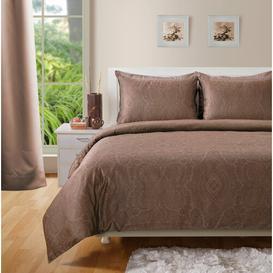 image-Lyon 400 TC Duvet Cover Set Marlow Home Co. Size: Super King - 2 Pillowcases, Colour: Brown