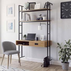 image-Hythe Wooden Wall Mounted Laptop Desk In Walnut With 2 Shelves