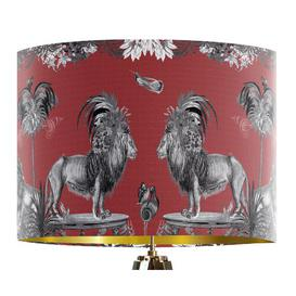 image-Classical Jungle Lion 40cm Cotton Drum Table Lamp Shade Bloomsbury Market Colour: Red