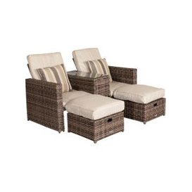 image-Paris Sun Lounger Set in Premium Truffle Brown and Champagne
